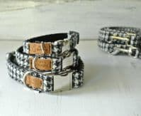 Black and White Houndstooth Harris Tweed Dog Collars
